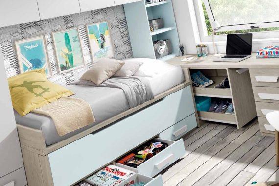 Dormitorios Juveniles Ros - Bi-Cama - Catálogo Oldschool Kids - Composición 07 - Mobiliarium