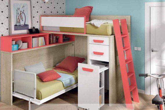 Dormitorios Juveniles Ros - Literas y Trenes - Catálogo Oldschool Kids - Composición 105 - Mobiliarium