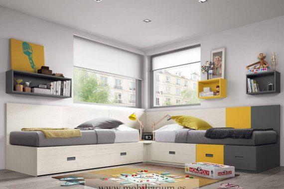 Dormitorios Juveniles Ros - Blocs - Catálogo Oldschool Kids - Composición 59 - Mobiliarium