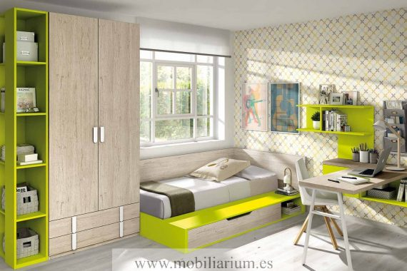 Dormitorios Juveniles Ros - Camas - Catálogo Oldschool Kids - Composición 74 - Mobiliarium