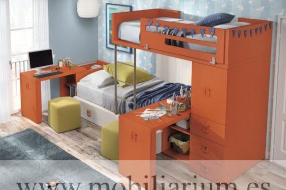 Dormitorios Juveniles Kazzano  - Composición P055 - Catálogo Parabellum - Mobiliarium