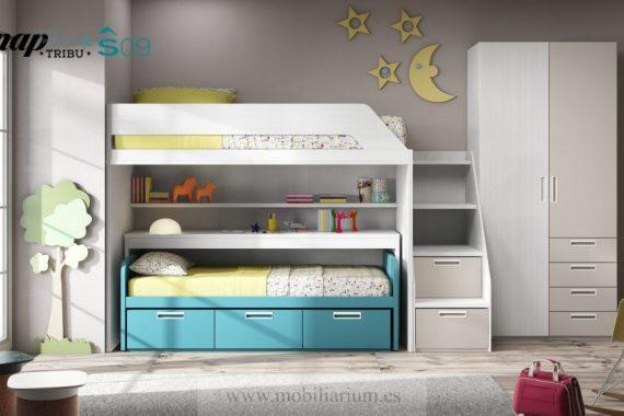 Dormitorios Juveniles Hermida - Literas y Trenes - Composición 09 - Catálogo Tribu Snap - Mobiliarium